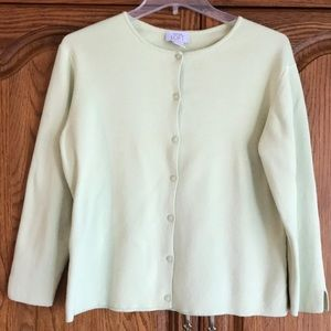 Ann Taylor Loft Green Cotton Cardigan